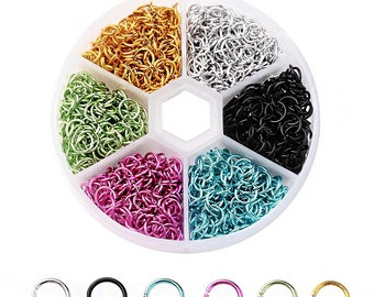 6mm Aluminum Jump Rings with Six Assorted Finishes in Handy Storage Box 1080 Pieces - JBox-18