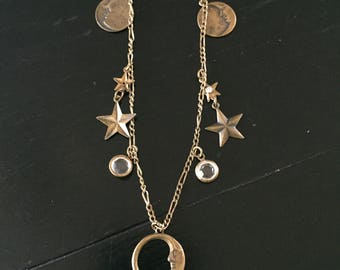 Glass Works - Vintage Moon and Heart Necklace