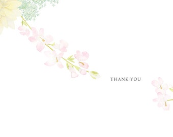 Custom Wedding thank you card with original watercolor painted pattern: English Garden