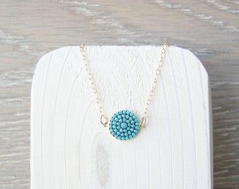 Delicate Gold Layering Necklace, Turquoise Jewelry, Minimalist, Rhinestone, Boho, Faceted, Dainty, Mosaic, 14k Filled, Pave