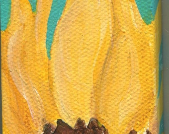 Sunflower mini canvas art, 2 x 4  original sunflower art, acrylic painting mini canvas art, sunflower mini painting easel, Sharon Foster Art