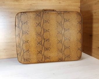 Vintage suitcase, Old suitcase, Suitcase with leather, Brown suitcase, Travel suitcase, Vintage luggage, Big suitcase, Antique suitcase