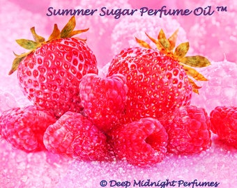 SUMMER SUGAR™ Perfume Oil - Pink Sugar Crystals, White Sugar Crystals, Strawberries, Raspberries, Sandalwood - Summer Fragrance