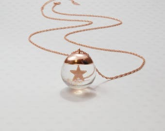 "Snowglobe gold filled long necklace / Sautoir / Handmade / Chic original ideal gift - ""Bulle Etoile"" by Lily Garden"