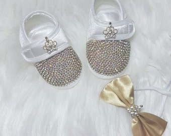Handmade Swarovski Gentelmans Baby Boy Shoes /Newborn Boy Shoes / Baby Boy Gift / Baptisim Gifts for Boy  /Christening shoes for baby boys