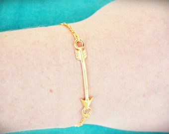 Gold Arrow bracelet. Simple and delicate. Gold colored.