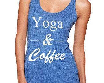 Yoga and Coffee Tank Top, Yoga Shirt, Yogi Gift, Racer-Back Tank