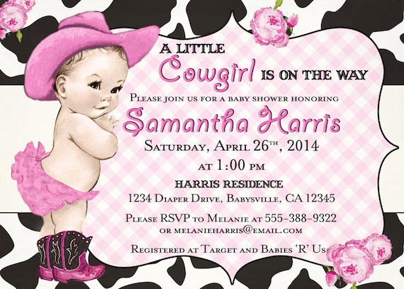 Western baby shower invitations western baby shower like this item filmwisefo Image collections