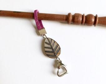 Leaf progress keeper Purple faux leather cord stitch marker