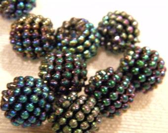 6 vintage lucite blackberry beads