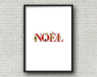 NOEL Red CHRISTMAS Alphabet Printable, DIY Wall Art, Cards, Crafts, Easy to download and print.