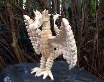 Tramp Art Dragon Carving Wood Handmade