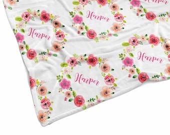 Baby blanket - Baby blanket personalized - Baby girl - Baby shower gift - Name blanket - Newborn gift - Custom blanket