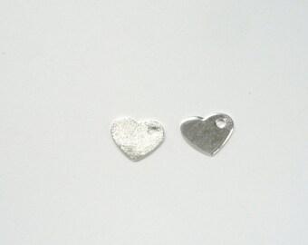 2  pcs Sterling silver heart charm. (9X7MM)