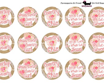 Burlap Beauty Inspired 1 inch Bottle Cap Images