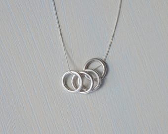 Orbit Circles Necklace | Sterling Silver Circles Necklace | Minimalist Pendant Necklace | Silver Circle Necklace