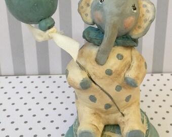 Elephant paper-mache clay folk art// decoration Birthday// elephant paper clay figurine//