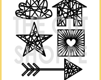The I Heart String Art cut file consists of 5 string art icons, that can be used for your scrapbooking and papercrafting projects.