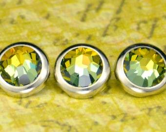 10 Tabac cristal cheveux boutons pressions - ronde argent jante édition--faite avec des strass Swarovski Element
