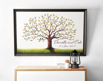 Printable fingerprint tree, Customizable Thumbprint tree, wedding Guestbook, christening fingerprint tree, birthday fingerprint tree