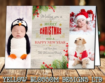 Rustic Country 10 Pack Od Photo Personalised Christmas Greeting Cards Boy Girl Twin Family Thank You Note Folded Printed Children Bespoke