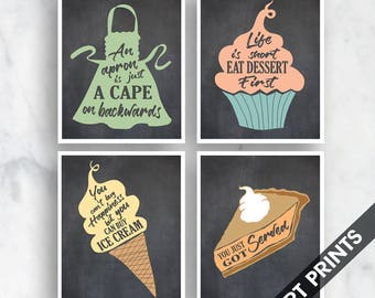 Apron, Cupcake, Ice Cream, Pie (Comfort Food Series A) Set of 4 - Art Prints (Featured on Blackboard with Assorted Colors)