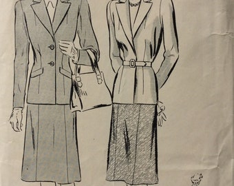 Companion-Butterick 1890 misses two-piece suit size 14 bust 32 vintage 1940's sewing pattern