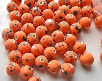 20 x Funky Hand Paint Splattered Colourful Tiger Orange Porcelain Ceramic Beads 12mm - UK Seller P1