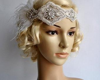 Rhinestone pearls feather flapper Gatsby Headband,Wedding Headband,Crystal Headband,Wedding Headpiece,Bridal Headpiece,1920 Flapper headband