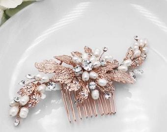Rose Gold Swarovski Bridal Comb, Rhinestone Comb, Bridal Comb Crystal, Wedding Crystal Hair Comb, Wedding Accessory, Amelia Rose Gold Comb
