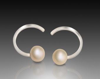 Half moon curved semi-circle pearl Sterling Silver stud post earrings