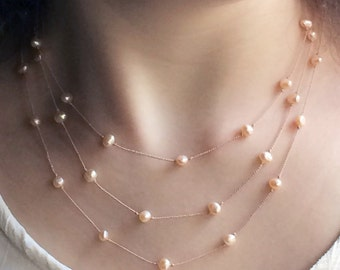 Freshwater pearls on knotted silk cord for brides, bridesmaids and a touch of elegance for everyone else