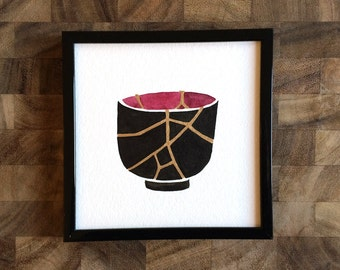 """Kintsugi Painting (Black + Berry + Gold) - Beauty in the Broken Things - 5x5"""" Original Painting"""