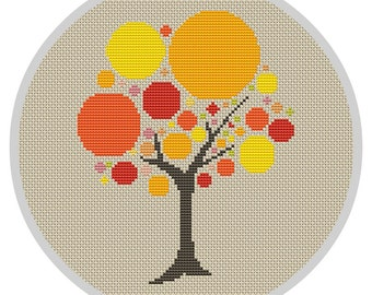 Bubble Tree Cross Stitch Pattern Modern cross stitch pattern Needlecraft Modern trees Counted Cross stitch Pattern PDF X051