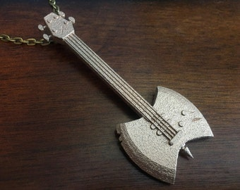 Adventure Time Marceline Ax Bass 3D Printed Stainless Steel Pendant