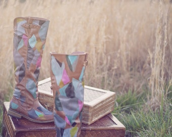 Hand painted boots/ fashion boots/ fashion art/ statement boots/ womens boots/ tall boots