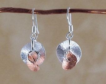 Small Silver Earrings, Mixed Metal Earrings, Silver Earrings, Copper Earrings, Gold Earrings, Delicate Chic Earrings