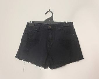 Vintage 1990s Black Denim Shorts High Waisted Mini Shorts with Rip Tear Detailing and Frayed Hem