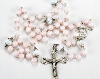 Pale Pink Iridescent Opal Rosary - Handmade Heirloom with Sterling Silver, Manmade Opals, Our Lady center - Rosaries Gift for Catholic Women