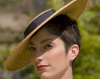 The Summer Frou Frou - Wedding Hat - Straw Boater Hat w/ Navy Ribbon