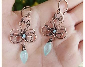 Blue dangle earrings copper wire jewelry handmade earrings - blue gemstone earrings chalcedony - wire wrap earrings - copper earrings wire