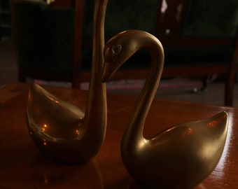 Vintage Brass Swans Set of 2