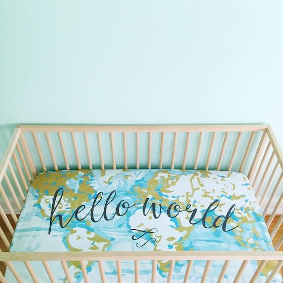 crib sheet aqua hello world fitted crib sheet baby bedding. Black Bedroom Furniture Sets. Home Design Ideas