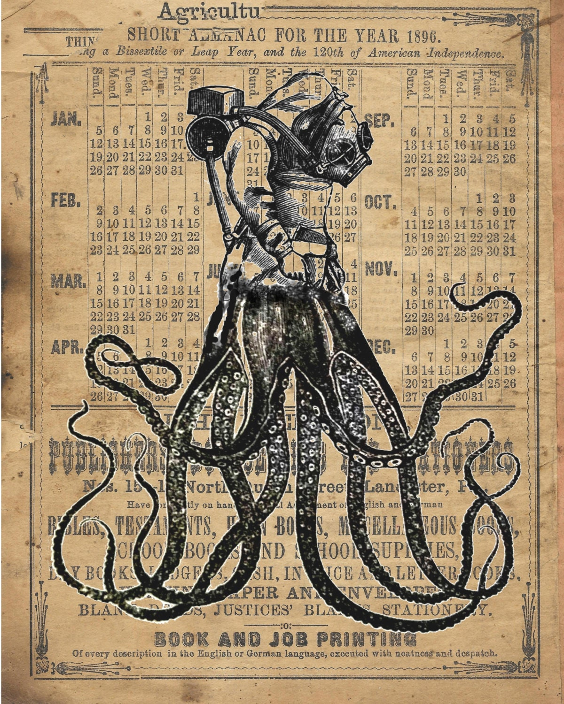 Vintage Kraken Illustration OctoDiver Vintage coll...