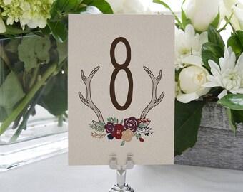 Rustic Antlers & Flowers Printable Table Numbers (Numbers 1-30)