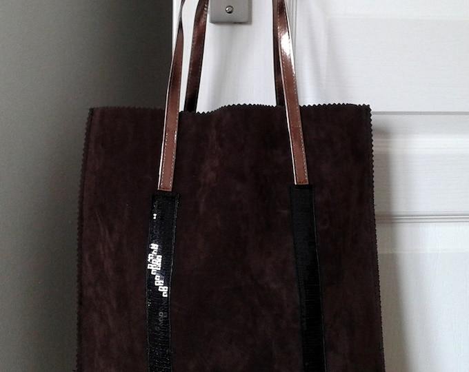hand bag leather genuine, Brown, black, worn shoulder handbag, copper, gift idea, black leather,