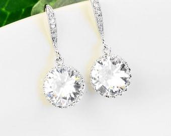 Cubic Zirconia Earrings Silver Clear Crystal Bridal Earrings - Bridesmaids Earrings - Crystal Drop Earrings - Cubic Zirconia Jewelry