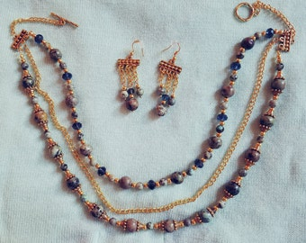 Triple-Strand Turquoise and Gold Jewelry Set
