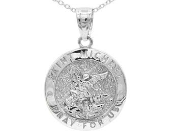 10k yellow gold saint michael medallion with gold chain st 14k white gold saint michael medallion necklace solid gold saint michael pendant with option to add gold chain aloadofball Image collections