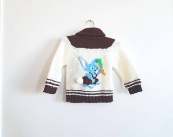 Vintage Brown and White Bunny Sweater